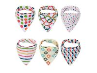 Pack of 6 Baby Bandana Bibs Made of 100% Organic Cotton and Double Layer Fleece & YKK Double Snaps