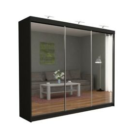 FAST DELIVERY-NEW DESIGN 250 FULL MIRROR 3 DOOR BEDROOM WARDROBE IN FIVE COLOURS-CASH ON DELIVERY