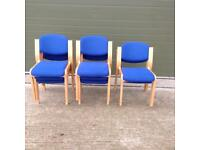 Blue office reception chairs