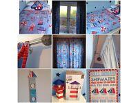 Boys bedroom curtains, single duvet x 2, lamp, pillow, height chart , canvas, lighthouse & boats