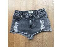 Dark Grey Denim High-Waist Shorts - Miss Selfridge, Size 12
