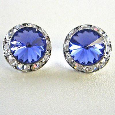 Womens Earrings Crystal Tanzanite Silver 1/2