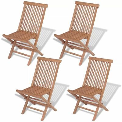 Garden Furniture - vidaXL 4x Solid Teak Wood Outdoor Folding Chairs Brown Seat Garden Furniture