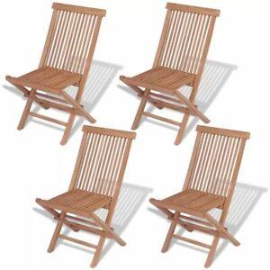 Superbe VidaXL 4x Solid Teak Wood Outdoor Folding Chairs Brown Seat Garden Furniture