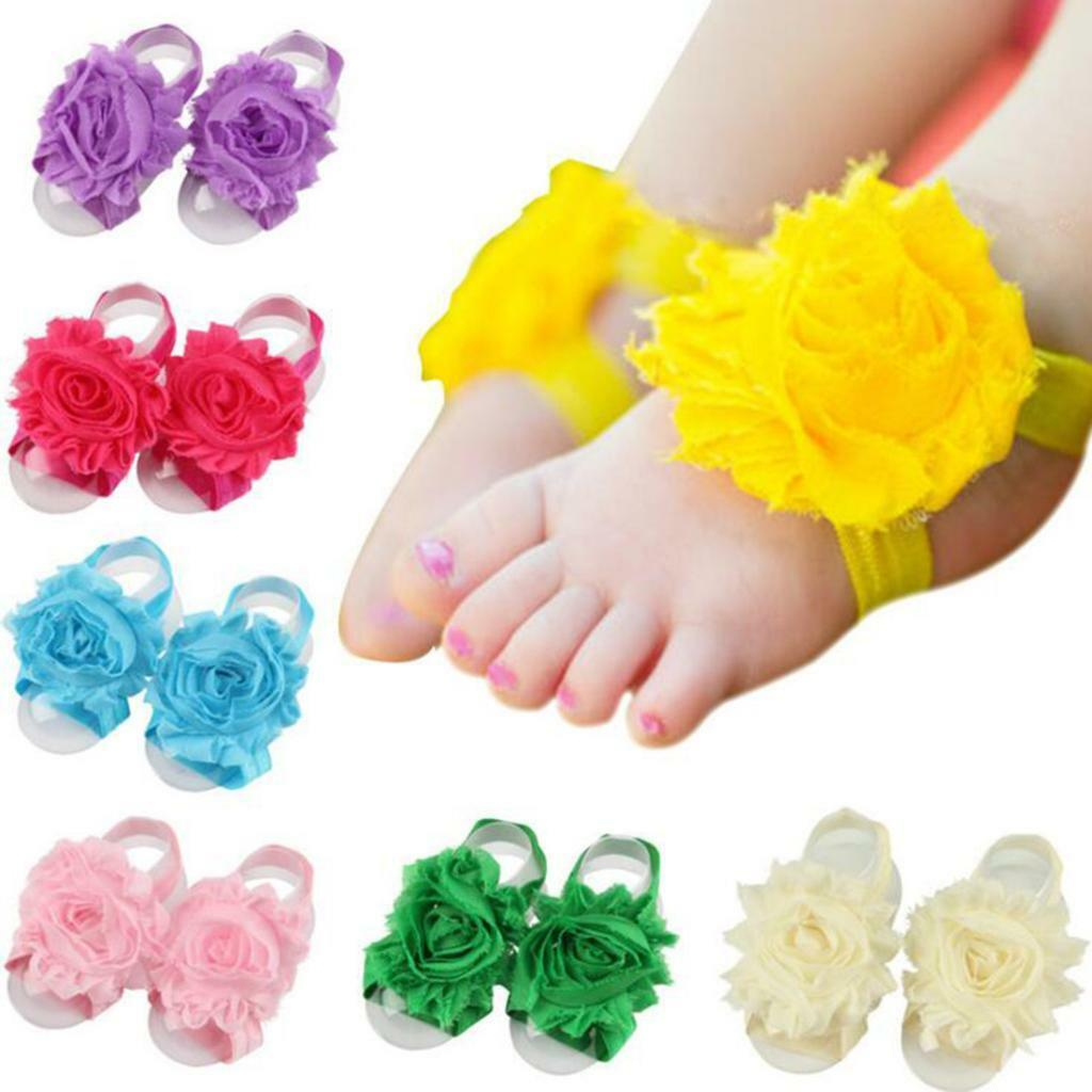 Newborn Infant Barefoot Ring Sandals Shoes Flower Feet Toes