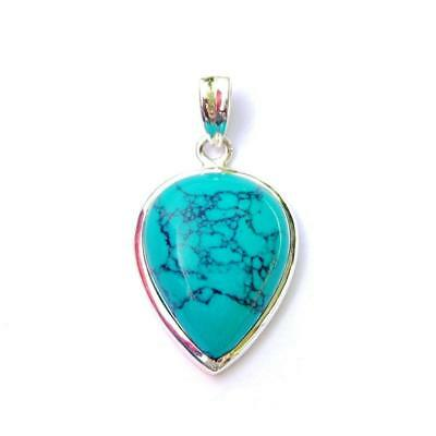 (Turquoise Inverted Teardrop Pendant - Natural Stone Gemstone Sterling Silver)