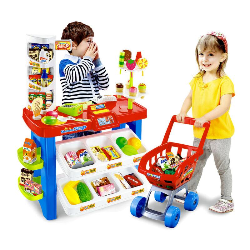 Kids Supermarket Shop Pretend Play Set Cash Register Shoppin