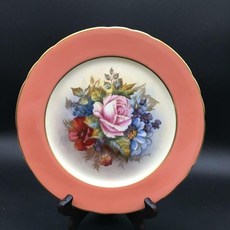 """AYNSLEY CABBAGE ROSE HP 8"""" SALAD PLATE RUST ORANGE BORDER SIGNED BAILEY CH6119"""