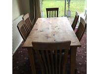 Dining Table and 6 chairs - Solid Oak / Pine