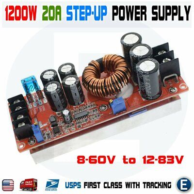 1200w 20a Dc Converter Boost Step-up 8-60v To 12-83v Power Supply Module Car