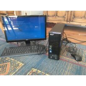 Acre aspire desktop computer, screen, mouse and keyboard