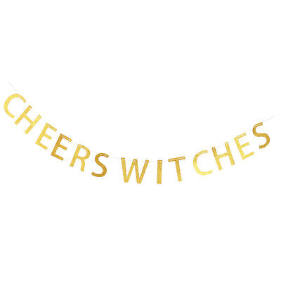 Funny Glitter Gold Banner CHEERS WITCHES Halloween Photo Props Hanging Decor (Halloween Banner Funny)