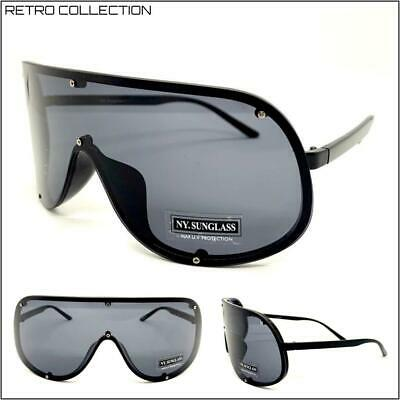 OVERSIZED RETRO FACE SHIELD VISOR SUN GLASSES Huge Jumbo Big X Large Black (Huge Hipster Glasses)