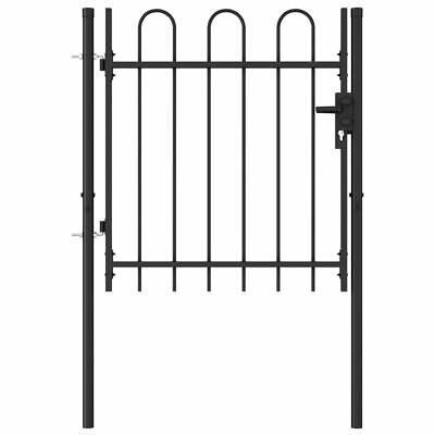 vidaXL Fence Gate Single Door with Arched Top Steel 1x1m Black Garden Barrier