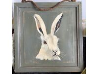 Hare Oil painting on wooden frame