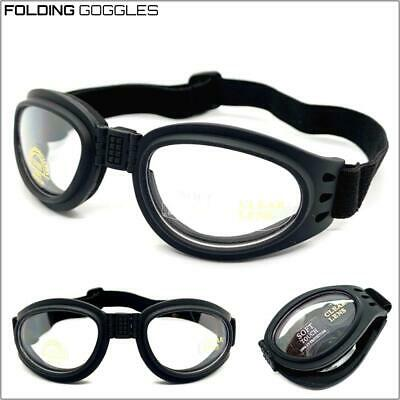 Motorcycle Riding Padded Folding Pocket Goggles Protective Eyewear Clear Lens
