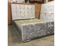 NEW Silver Grey crushed velvet bed frame in small double, double or king size