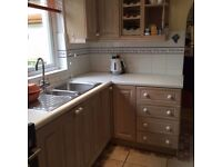****REDUCED***Limed Oak Kitchen, White Worktops, Steel sink & Taps