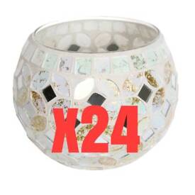 24x cream and gold mosaic candle globes. Job lot