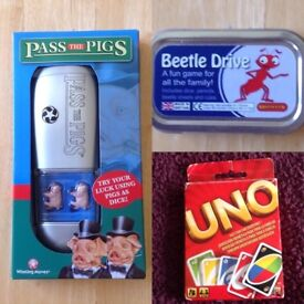 Pass the Pigs/Beetle Drive/UNO Travel Games