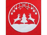 Christmas papercut on a non-shed glitter backing of your choice