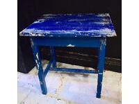 Original Paint Small Blue French Side Table With Footrest - Great Patina