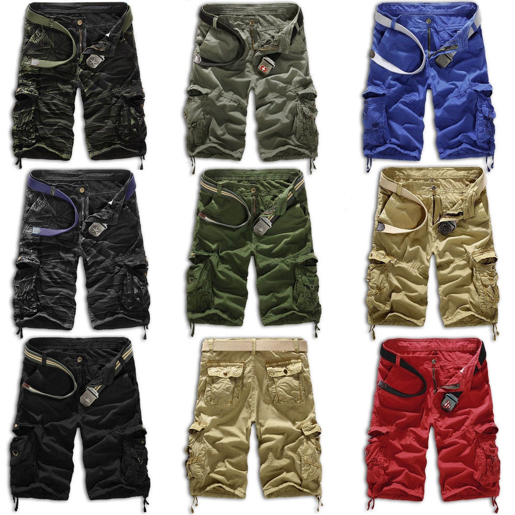 Men Military Camo Cargo Shorts Pants Work Casual Combat Camouflage Trouser New