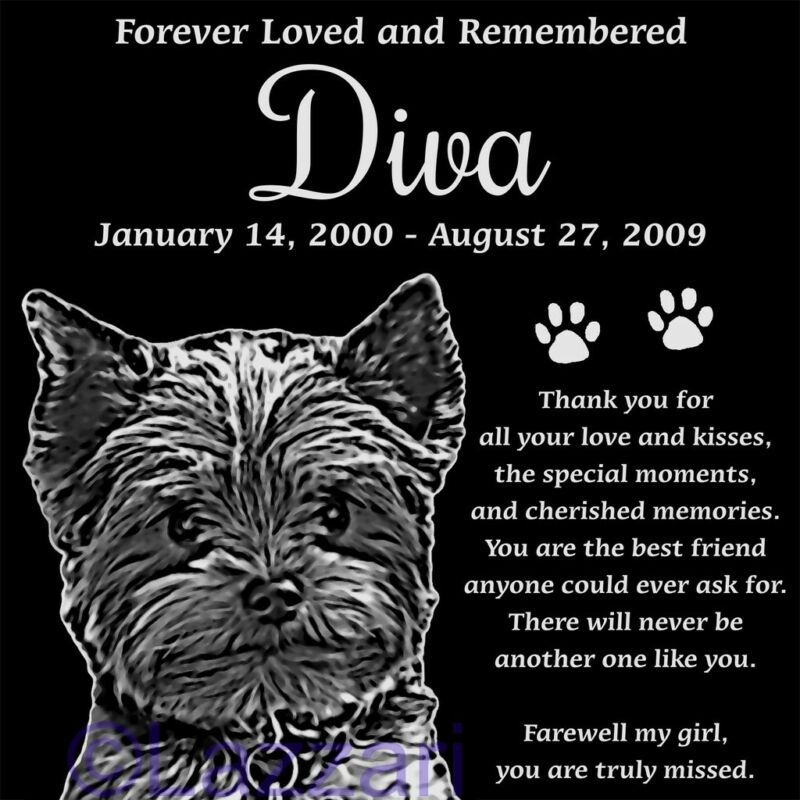 Personalized Yorkshire Terrier Yorkie Pet Memorial 12x12 Headstone Grave Marker
