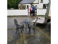 heavy heavy cast iron garden table and 2 chairs