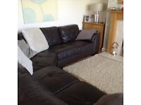 Large 7 seater corner leather sofa with optional pouffe