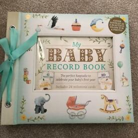 Baby record book deluxe and milestone cards brand new unused