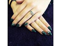 Luxury Gellux manicure or acrylics.