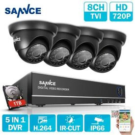 SANNCE 8Channel 1080N 5IN1 DVR 720P HD IR Cut CCTV Security Camera System 1TB UK