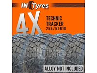 4x 255/55r18 Technic Tracker 255 55 18 MT Mud Terrain Kingpin Like BFG KM2 Tyres