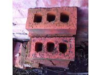 17 Red Facing Perforated Bricks and Handful of Reclaimed Solid Bricks