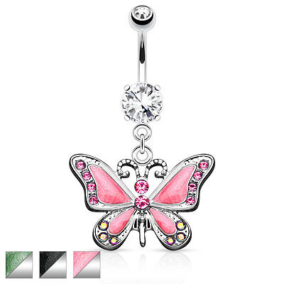 Butterfly with CZ Dangle Belly Button Navel Ring 14g 3/8