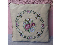 Hand made tapestry embroidery cushion with rose and floral motif. East Belfast.