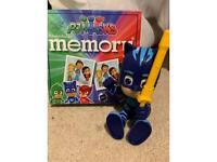 PJ Masks memory game and Cat Boy talking figurine