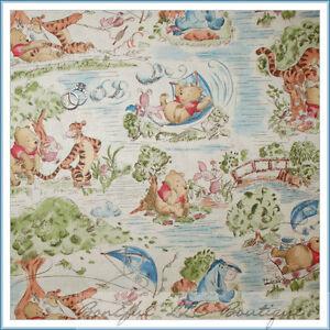 BonEful Fabric FQ Cotton Quilt VTG Winnie the Pooh Park Bear Piglet Baby Nursery