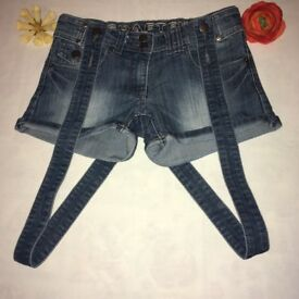 Demim shorts with braces - Size 6 - though I think they come up larger, sizes below)