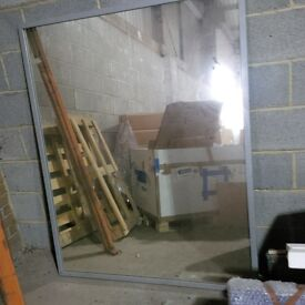 Large Mirror with smooth silver frame 150cm x 120cm