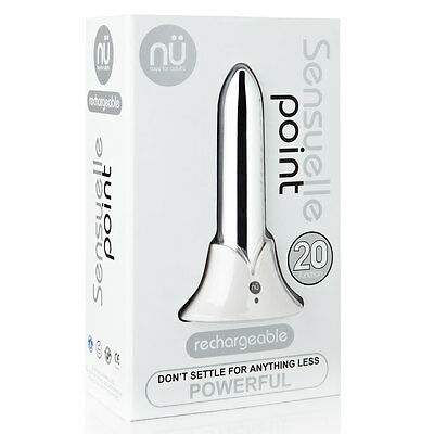 Sensuelle Point Bullet Style 20 Function Rechargeable Massager Brand New Silver