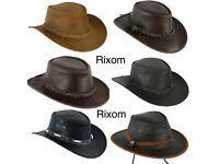 Real Leather Cowboy Western Aussie Style Australian Style Rain Proof Hats