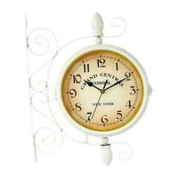 Dual Sided Hanging Clock Train Station Clock Outdoor Decor Wall Clock White
