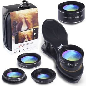 Brand NEW Phone Camera Lens 5 in 1 Kit with Travel Bag