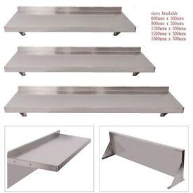 Stainless Steel Wall Shelf Mounted Kitchen Shelves wall Brackets 900mm x 300mm