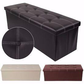38X38X110cm OTTOMAN FAUX LEATHER STOOL FOLDING SEAT CHEST FOLDABLE STORAGE BOX