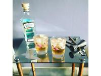 Glass side table, mirror effect swallow bird design