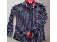 PRADA MILANO Men Red Black Long Sleeved Cotton Shirt Embroidered Italy L New