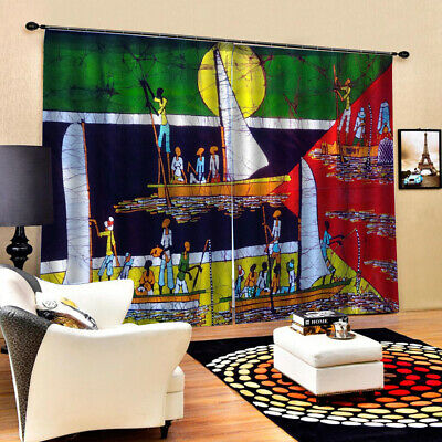2 Pcs/Panels Polyester African Style Image Curtains for Bedr